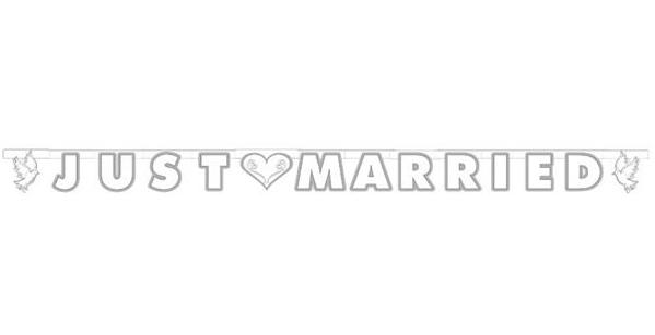 """Buchstabengirlande """"Just Married"""" mit Tauben"""