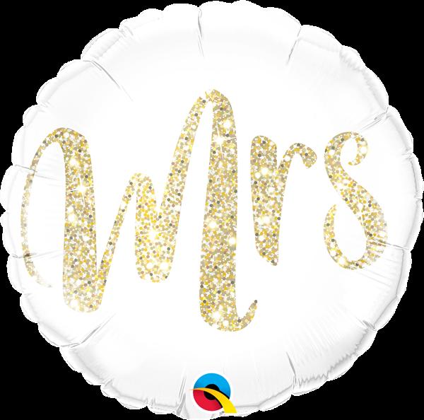 Folienballon Mrs. Glitzer Gold 45cm