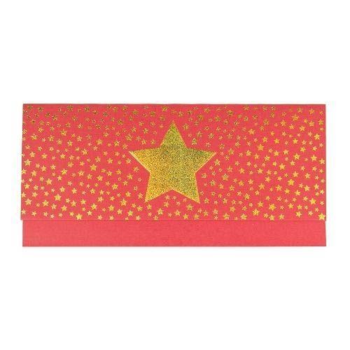 Roter Geschenkumschlag mit goldenen Sternchen