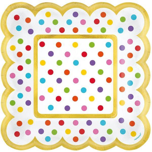 Paper Minis - 36 Quadratische Teller Regenbogen