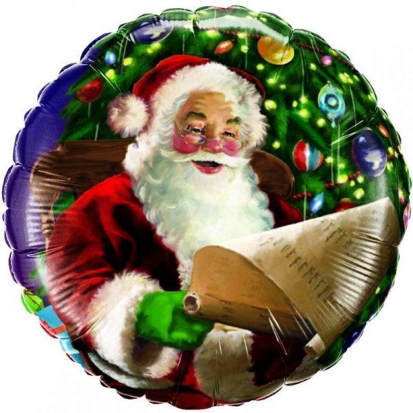 Folienballon Weihnachtsmann mit Liste 46 cm