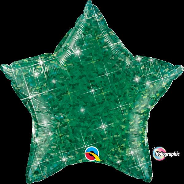 Folienballon Stern Holographic Grün 45 cm