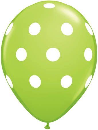 Qualatex Latexballon Big Polka Dots Lime Green Ø 30cm