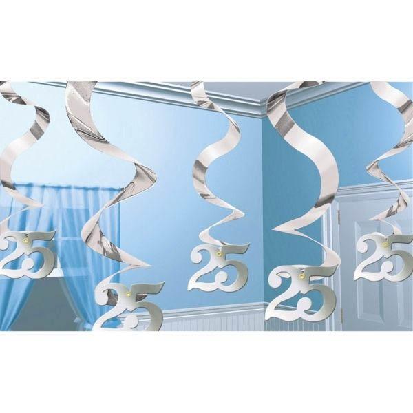 silberhochzeit 5 deko spiralen 25 silberhochzeit hochzeitstage hochzeit happy balloon. Black Bedroom Furniture Sets. Home Design Ideas