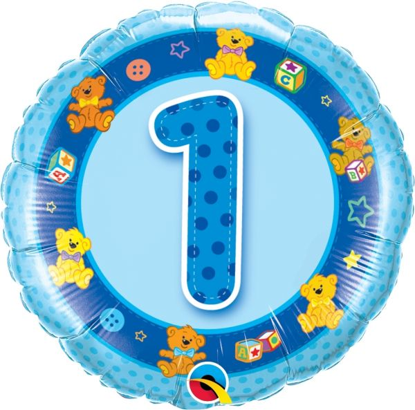 Folienballon 1. Geburtstag Teddies 45cm
