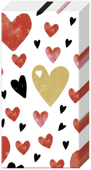 Liebe - 10 rote Herzchen Taschentücher