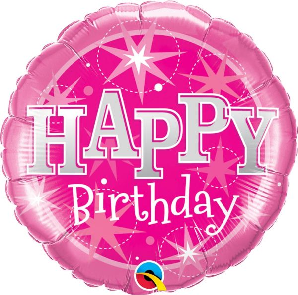 Folienballon Happy Birthday Sterne Pink 46cm