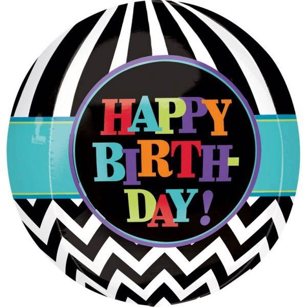 Orbz Balon Happy Birthday Schwarz-Weiß Chevron 40cm