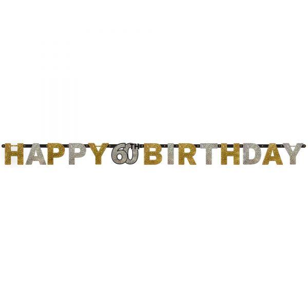Sparkling Celebration Silber & Gold - Happy Birthday 60 Holo Girlande