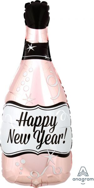 Folienballon Happy New Year Flasche Roségold 25x66cm