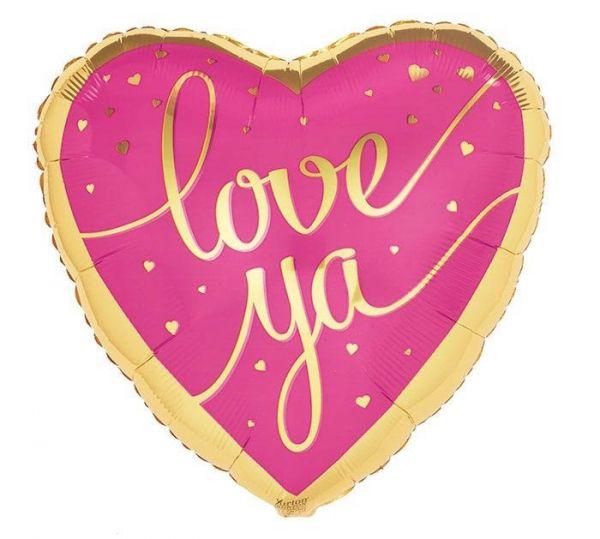 Folienballon Herz Love Ya Gold & Pink 43cm