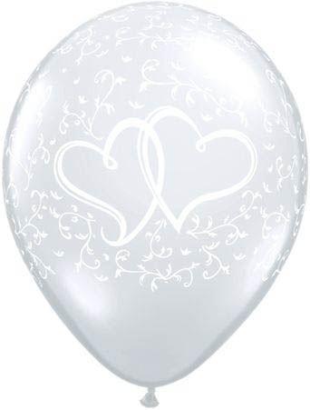 Qualatex Ballon Verschlungene Herzen Transparent 30cm