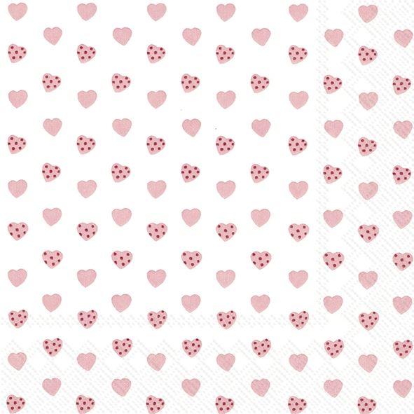 Sweetheart - 20 rosa Herzchen-Servietten