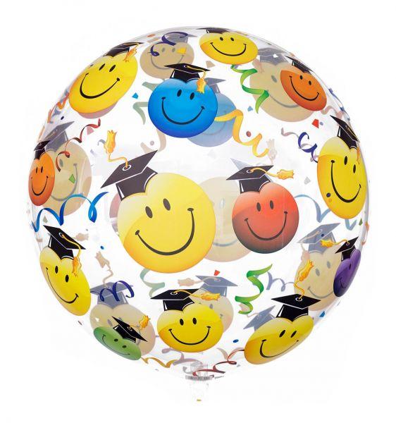 Bubble Ballon Smileys mit Doktorhut 56cm
