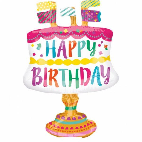 """Folienballon Minishape """"Happy Birthday Torte"""" luftbefüllt"""