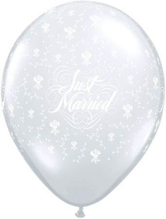 Qualatex Ballon Just Married mit Blumen Transparent 30cm