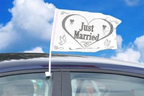 """Autofahne """"Just Married"""" Herz"""