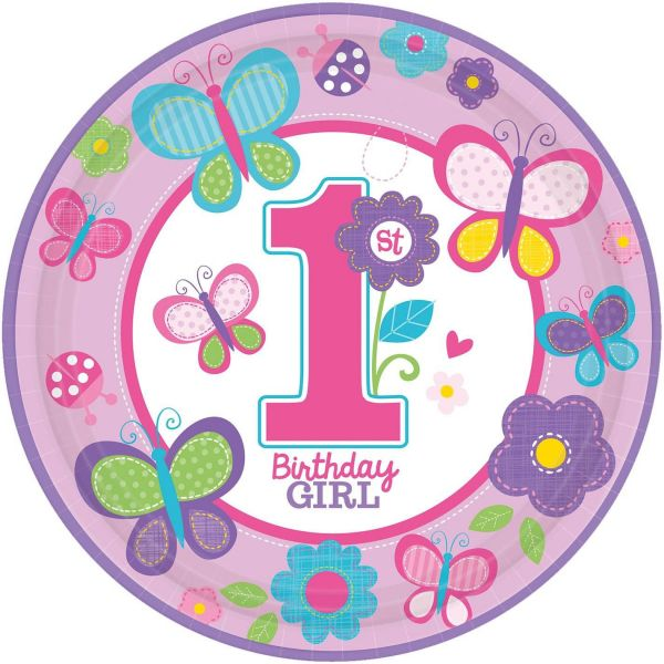Sweet Birthday Girl - 1. Geburtstag 8 Pappteller