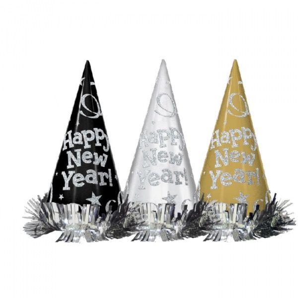 Happy New Year - 12 Silvester-Partyhüte Schwarz, Silber & Gold