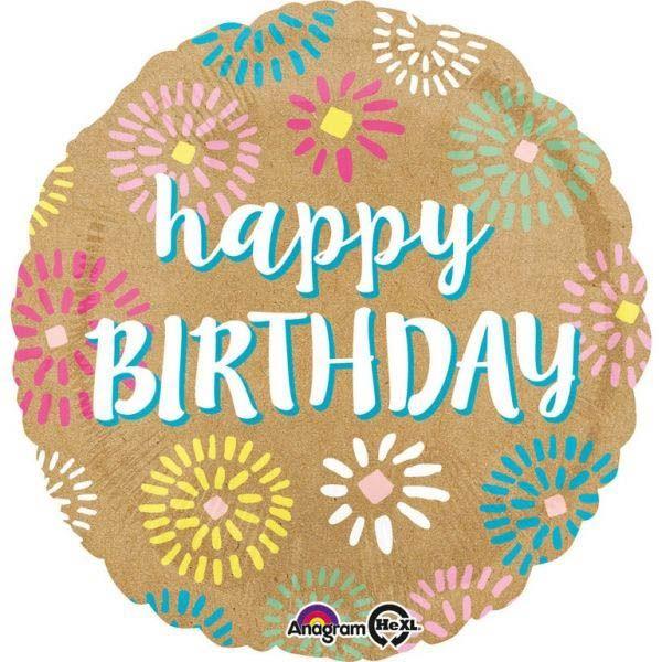Folienballon Happy Birthday Kraft Papier 45cm