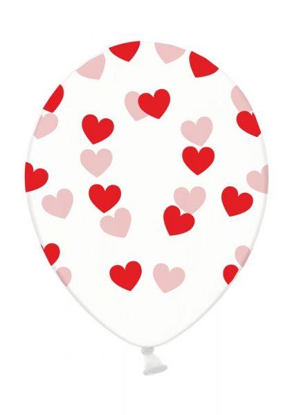 Latexballon Transparent mit roten Herzen Ø 30cm