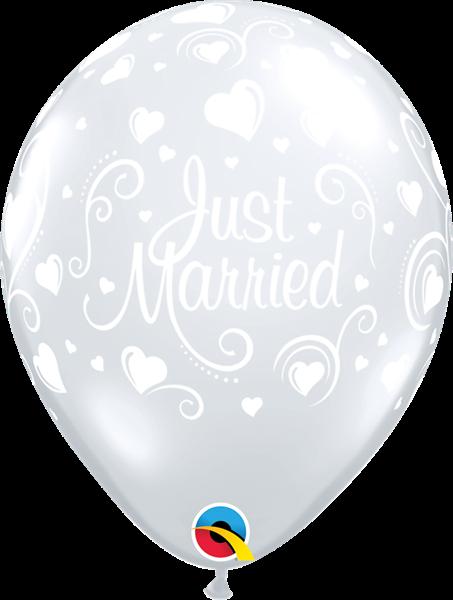 Qualatex Latexballon Just Married -Herzen Transparent Ø 30cm