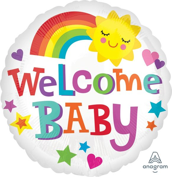 Folienballon Welcome Baby Sonne & Regenbogen 43 cm