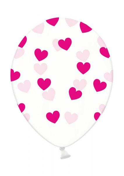 Latexballon Transparent Pink Herzen Ø 30cm