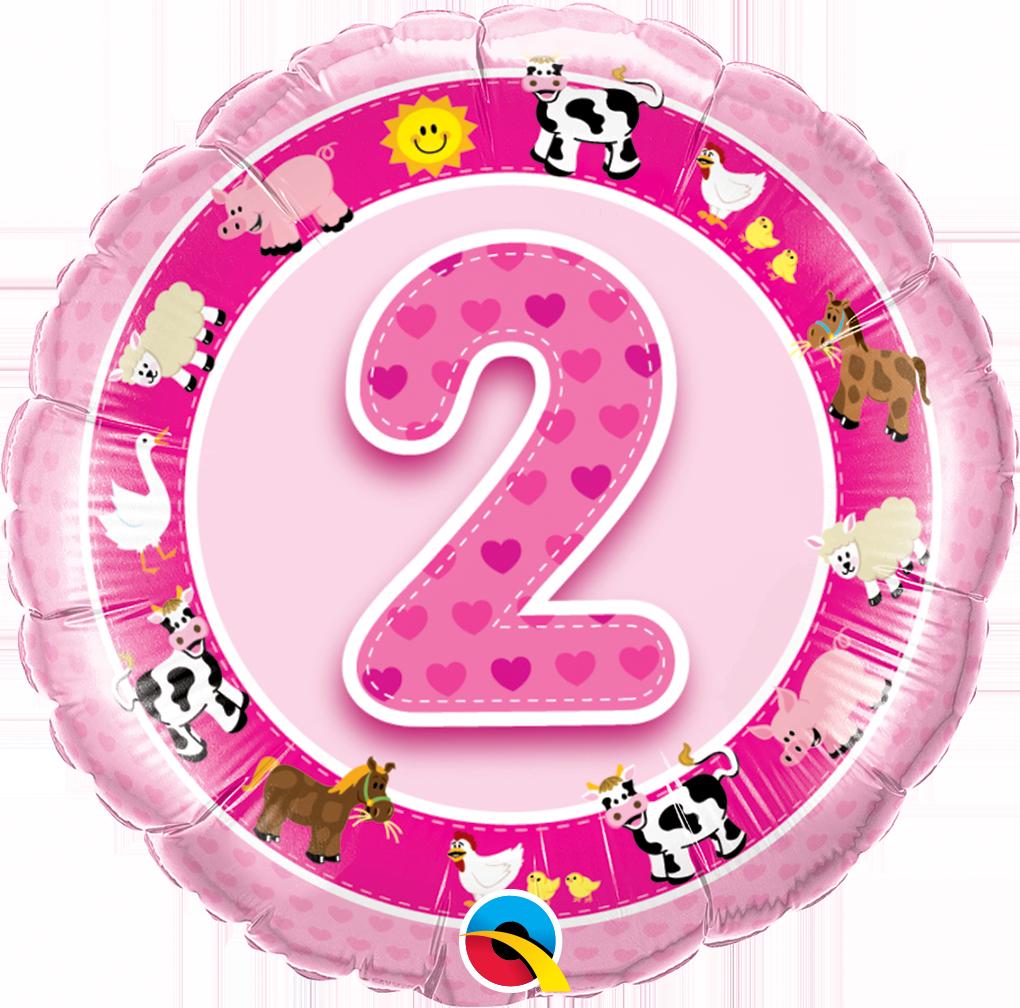Folienballon 2 Geburtstag Bauernhof Tiere 45cm Geburtstagszahlen