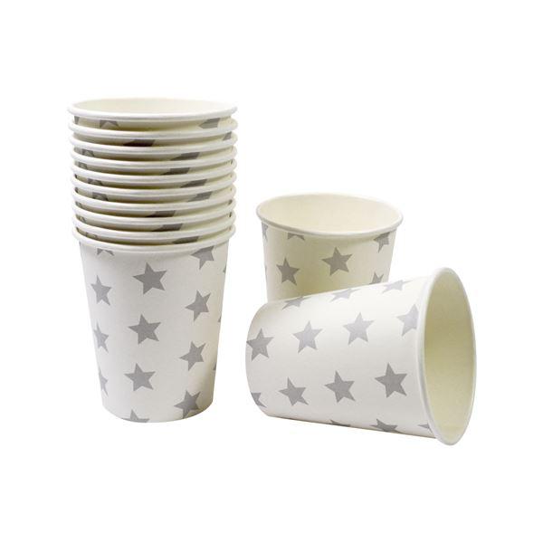 12 weiße Pappbecher mit grauen Sternen