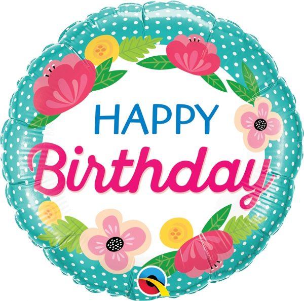 Folienballon geblümter Geburtstag mit Polka Dots 46cm