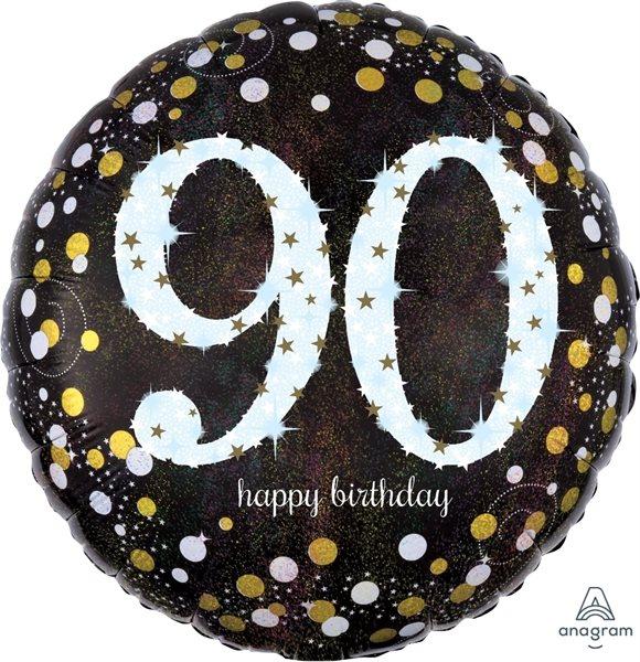 "Folienballon Sparkling Birthday ""90"" 43cm"