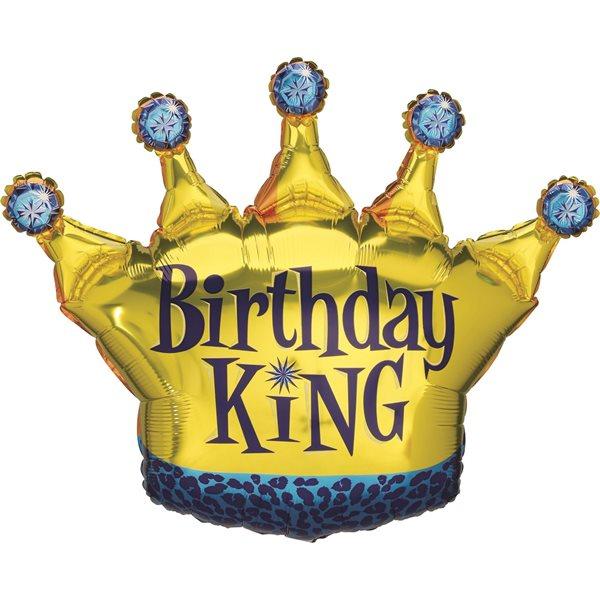 "Folienballon Krone ""Birthday King"" 90cm"