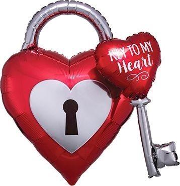 "Folienballon Herz ""Key to my heart"" 81cm"