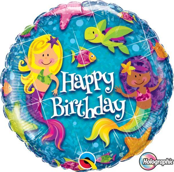 "Folienballon Holographic ""Happy Birthday"" Meerjungfrauen 45cm"