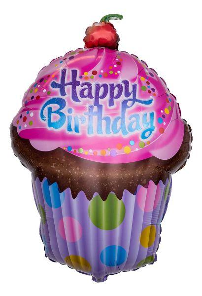 Folienballon Happy Birthday Frosted Muffin 51x74cm