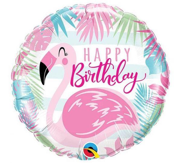 Folienballon Happy Birthday Pink Flamingo 46 cm