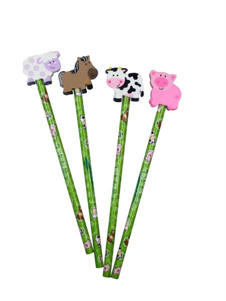 Bauernhoftiere - Bleistift mit Radiergummi