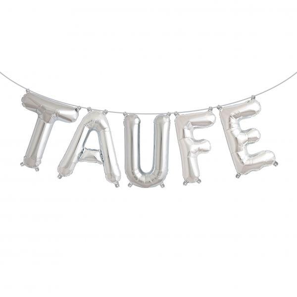 "Folienballon Girlandenset ""TAUFE"" Silber"
