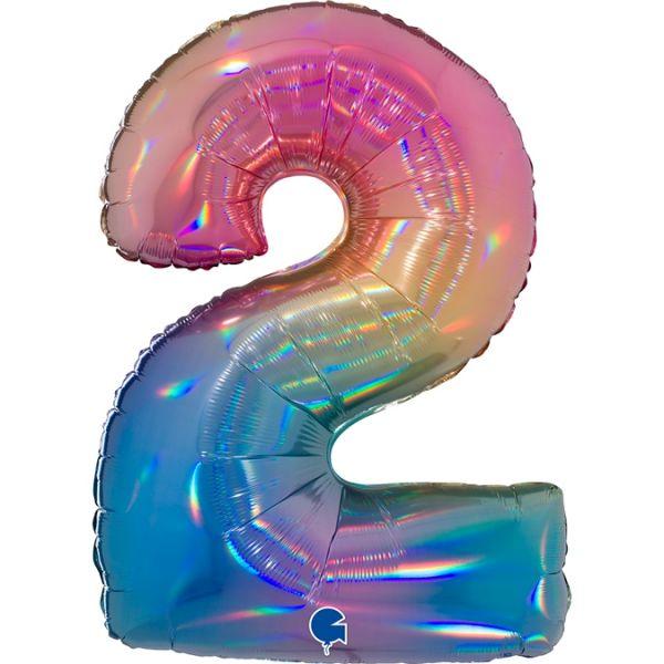 Folienballon Zahl 2 Regenbogen 100cm