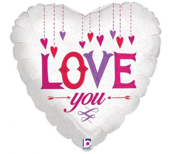 Folienballon Herz Love You Hängende Herzen 45cm