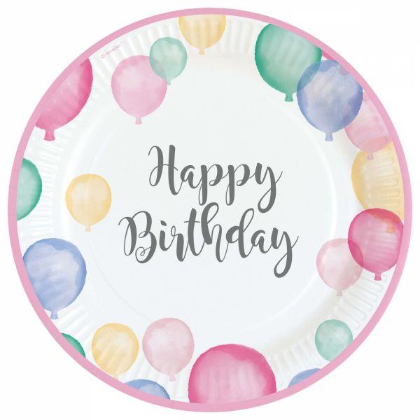Happy Birthday Pastell - 8 Pappteller