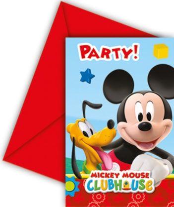 Mickey Mouse - 6 Einladungskarten