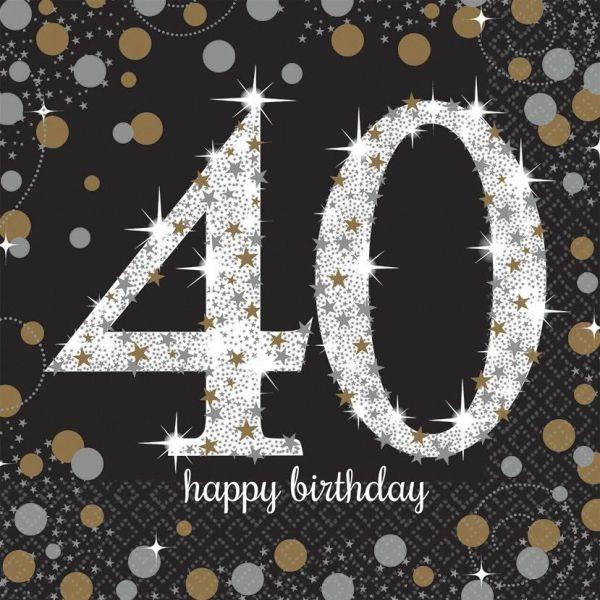 Sparkling Celebration Silber & Gold - 40. Geburtstag 16 Servietten