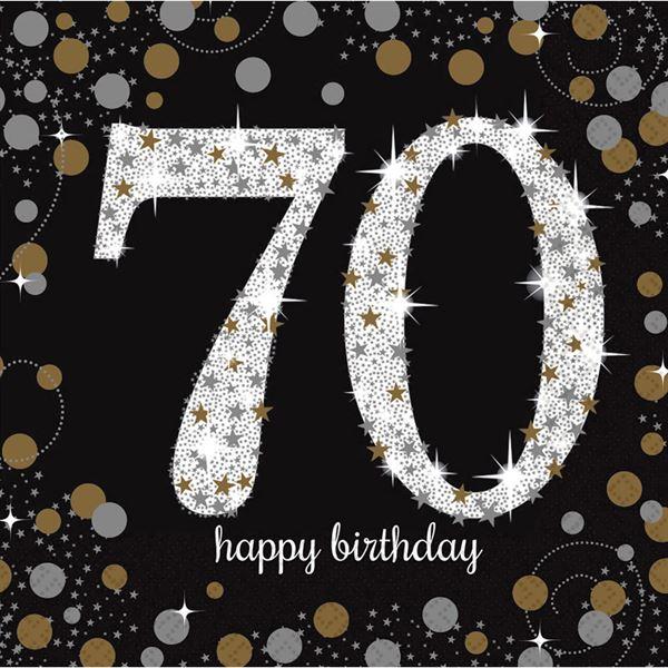 Sparkling Celebration Silber & Gold - 70. Geburtstag 16 Servietten