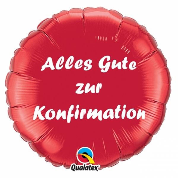 Folienballon Alles Gute zur Konfirmation Rot 45cm