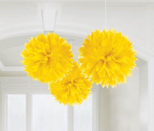 Sonnengelb - 3 Fluffy Pom Poms