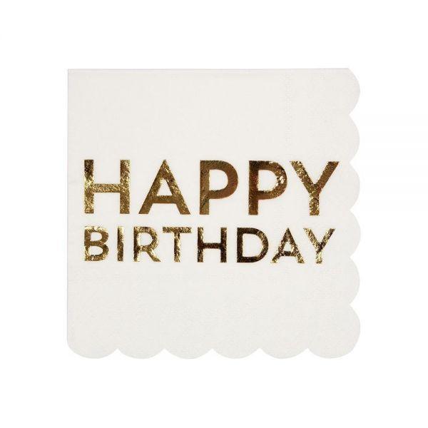 """Meri Meri - 16 Cocktail-Servietten """"Happy Birthday"""", Gold"""