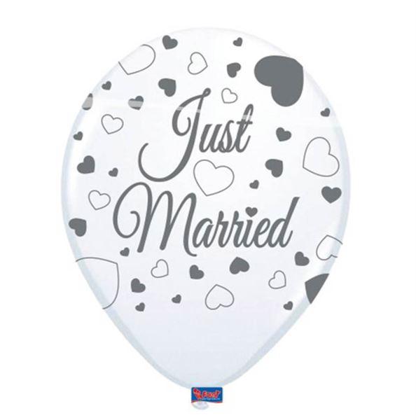 8 Luftballons Just Married Weiß 30cm