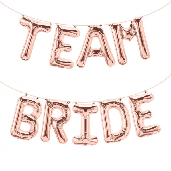 "Folienballon Girlandenset ""TEAM BRIDE"" Roségold"